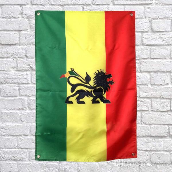 Bob Marley Flag Banner Polyester 144 * 96cm Hängen Sie an der Wand 4 Ösen Custom Flag indoor Jamaica Lion