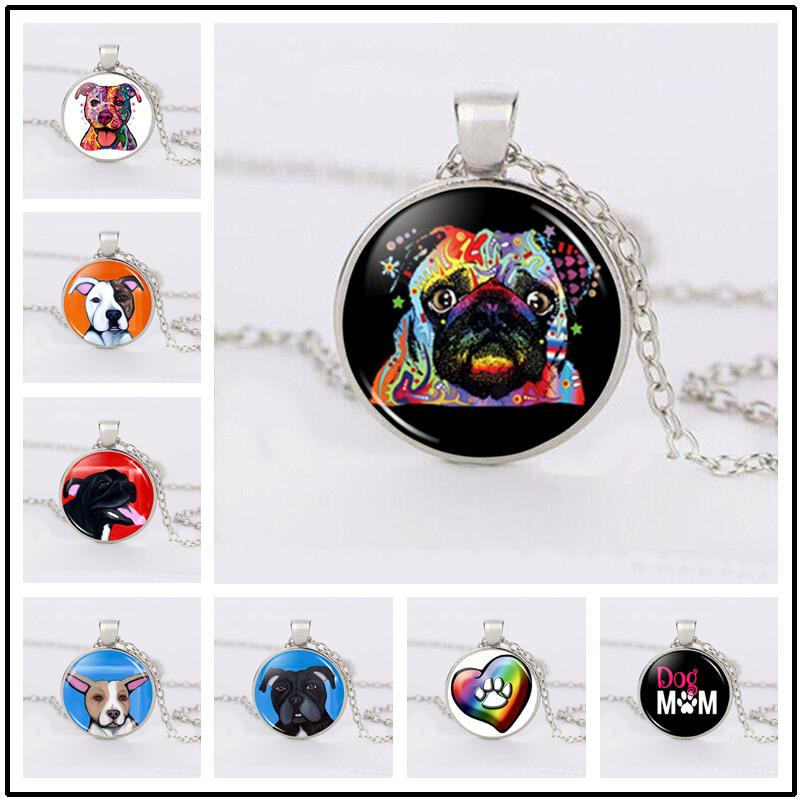 Cute Dog, Naughty Dog, Sunglasses Dog Pet Jewelry Necklace Jewelry Accessories, Fashion Round Glass Necklace Time Gem Children Gift