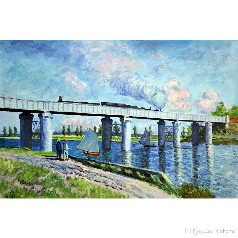 Pittura a olio di arte della parete Ponte di Rainway ad Argenteuil Materiale illustrativo famoso di Claude Monet su tela dipinto a mano