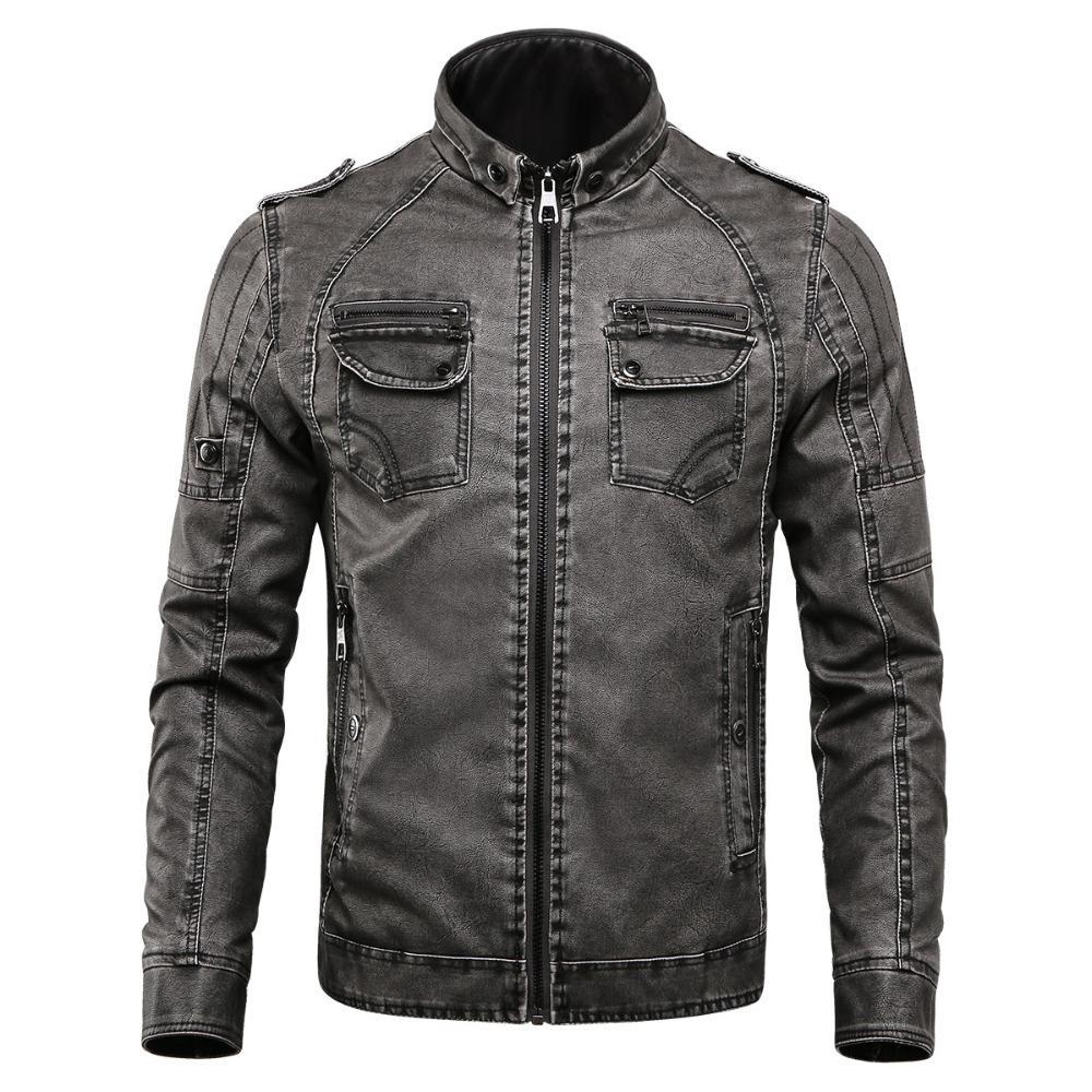 Nueva chaqueta de invierno hombres de soporte de cuello chaquetas de cuero más terciopelo lavado retro PU chaqueta de cuero para hombre espesa abrigos de cálido más tamaño