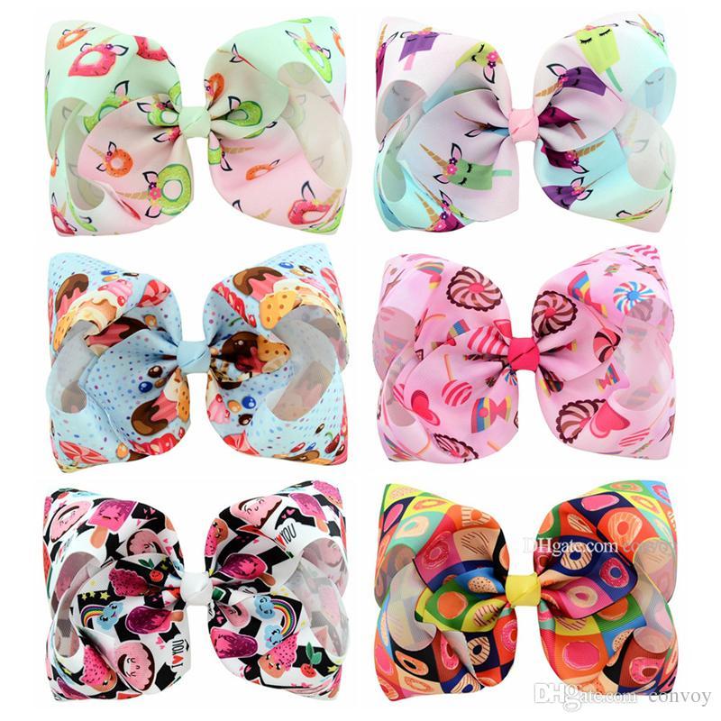8 дюймов девочек детские шпильки конфеты цветные конические барьерки детские дети пузырь лук волос клипы ленты аксессуар для волос KFJ195