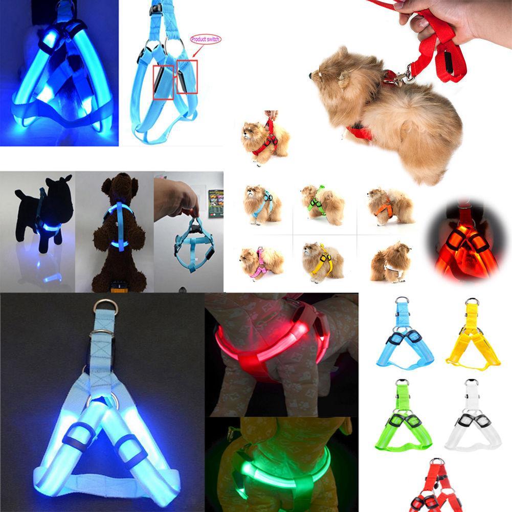 Nylon Dog Pet Harness Cat Safety LED Flashing Light Leash Rope Belt Collar Vest Pet Dog harness Cat Safety LED Flashing Light Harness BBA309