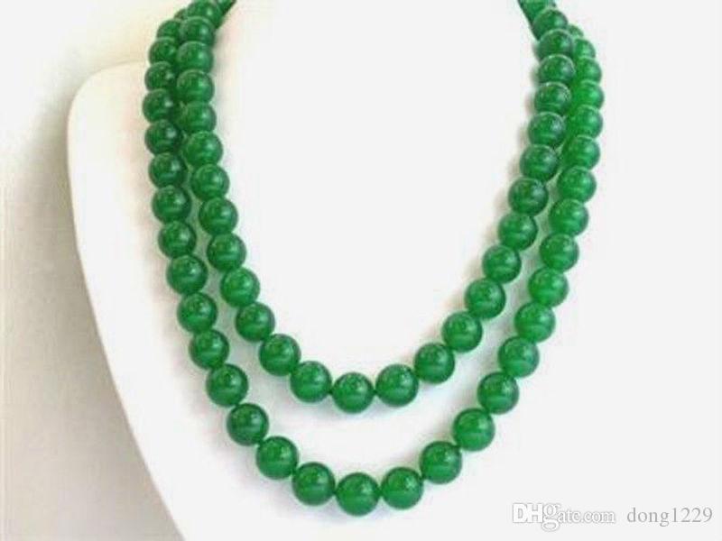 """Длинные 32 """"8мм натуральный зеленый нефрит круглые бусины Ожерелье из драгоценных камней"""