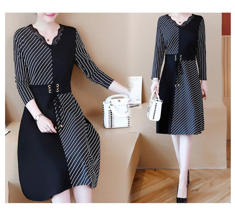 2019 Korean Fashion Women Dress Autumn Large Size Dresses Striped Patchwork Dress Ladies Lace V-Neck Long Sleeve Vestidos Robe Femme (6)