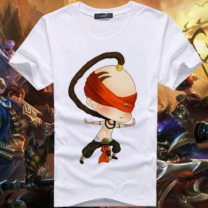 Il tessuto T della maglietta cieco Monk Sin manica corta abito Cool gioco libero del cotone dei vestiti di qualità maglietta
