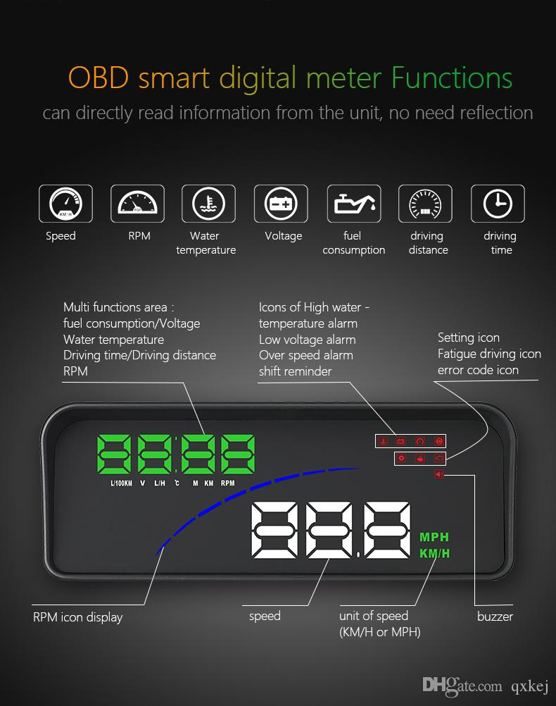 2019 P9 HUD Car Speed Projector Head Up Display OBD II EOBD Windshield  Projector Styling Voltage Speeding Warning From Qxkej, &Price