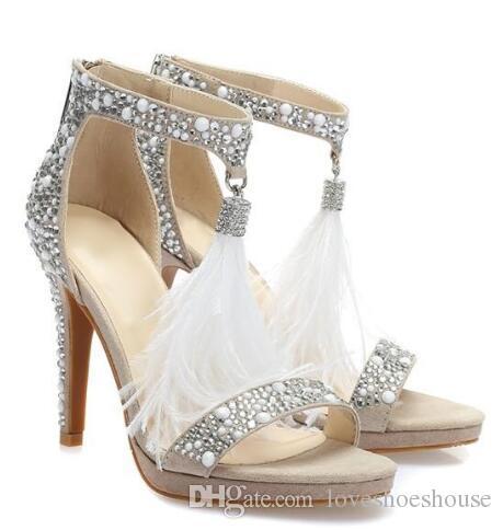 Sandals real Photo Crystal Embellished T-bar para Mulheres White Feather Fringe casamento sapatos de salto alto Brilhante Rhinestone Sandal
