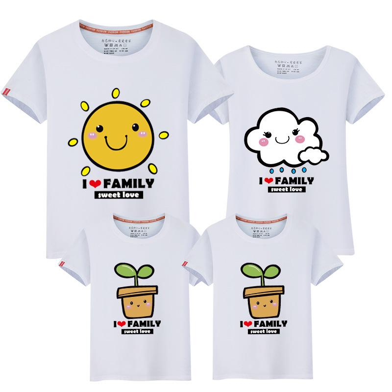 Matching Family Clothing Sets Mother Daughter Father Son tshirts Family Look Mom and Me Clothes Casual Short Sleeve Cute t shirts