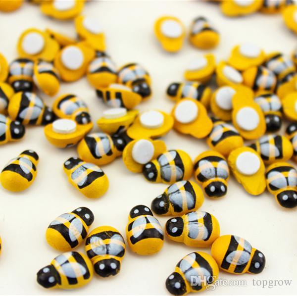 Cartoon Mini jaune abeille bricolage Réfrigérateur Autocollants Mini mignon abeille Réfrigérateur autocollants abeille en bois 9 * 13mm H0117