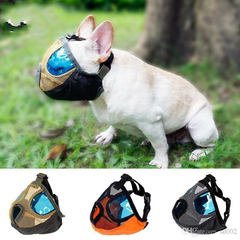 تنفس نايلون الكلب قناع مكافحة دغة مضغ وقف نباح الكلاب أقنعة تمارين الفم شبكة تصميم قصيرة خطم حيوانات منزلية 25dm zz