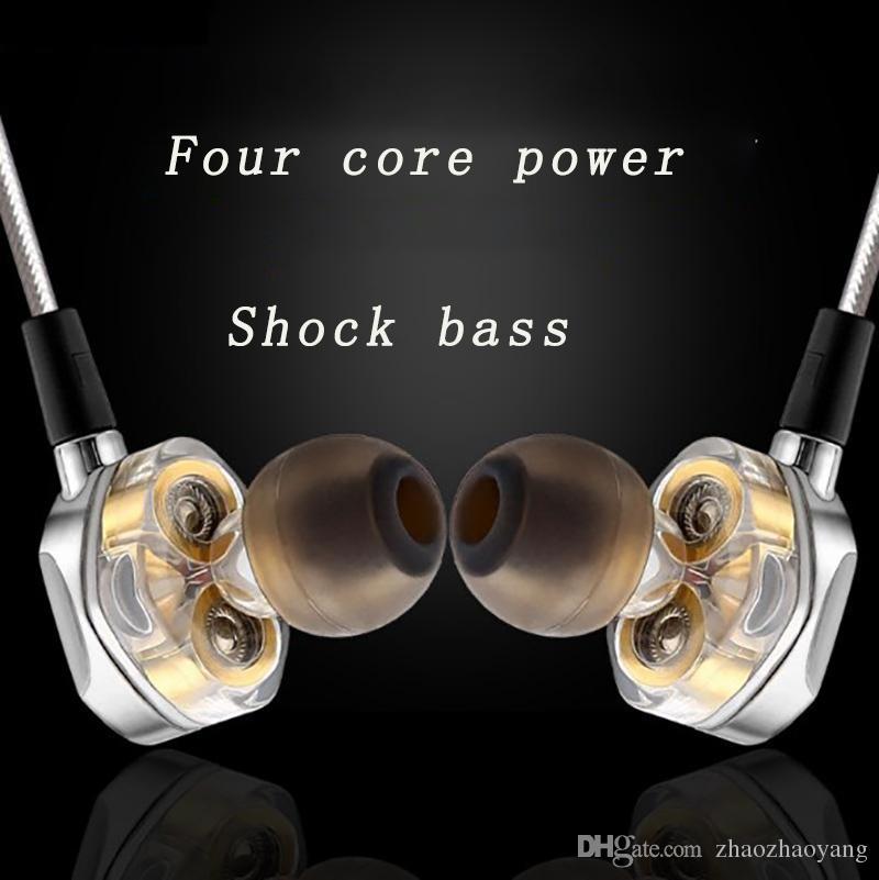 Новый стиль двойной подвижной катушкой двойной блок тяжелый бас стерео DeNoise earhone HIFI качество тона HD вызов спорт музыка позолоченные наушники