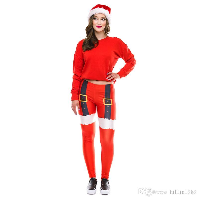 Red Novelty Christmas Skinny Pants Slim Santa Claus Leggings Casual Printing Capris Fashion Xmas Gift Tights Trousers