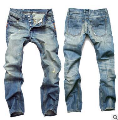 Mens jeans Hole vintage jeans Light blue straight slim button men's European and American denim trousers