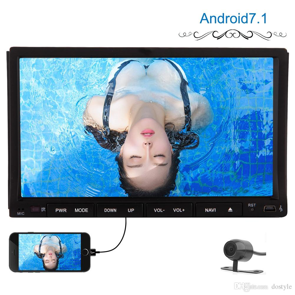 2GB+32GB Android7.1 Double Din In Dash Car dvd Stereo Radio GPS Navigation WIFI Bluetooth microphone AM FM Mirrorlink Steering wheel control