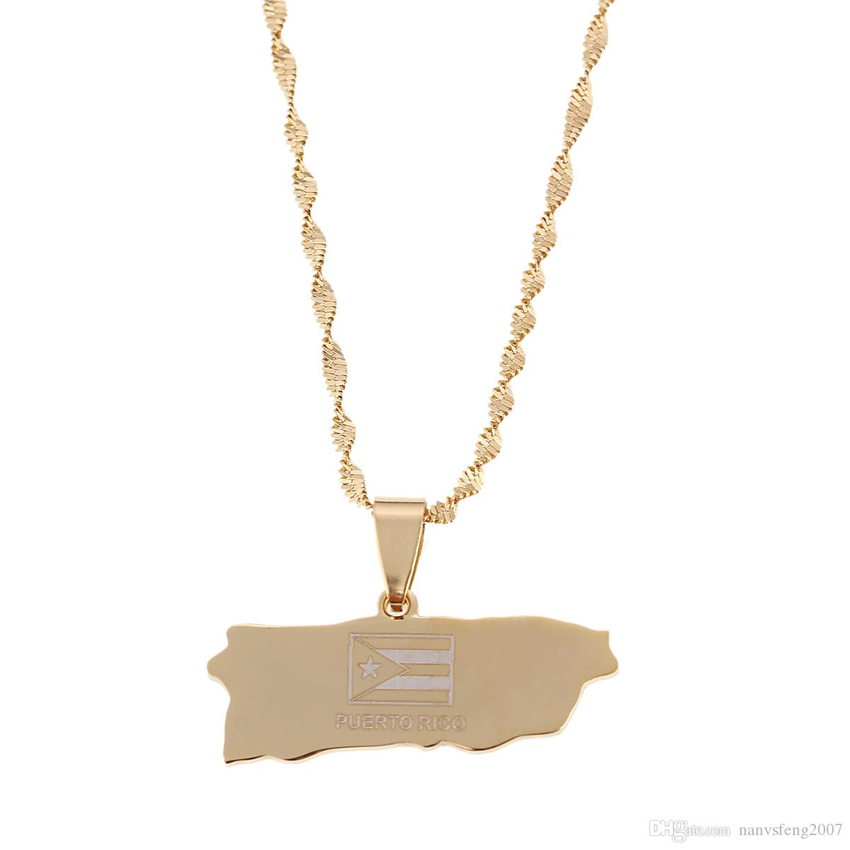 Gold Puerto Rico Pendant Necklaces Jewellery Stainless Steel Puerto Rican Map Jewelry