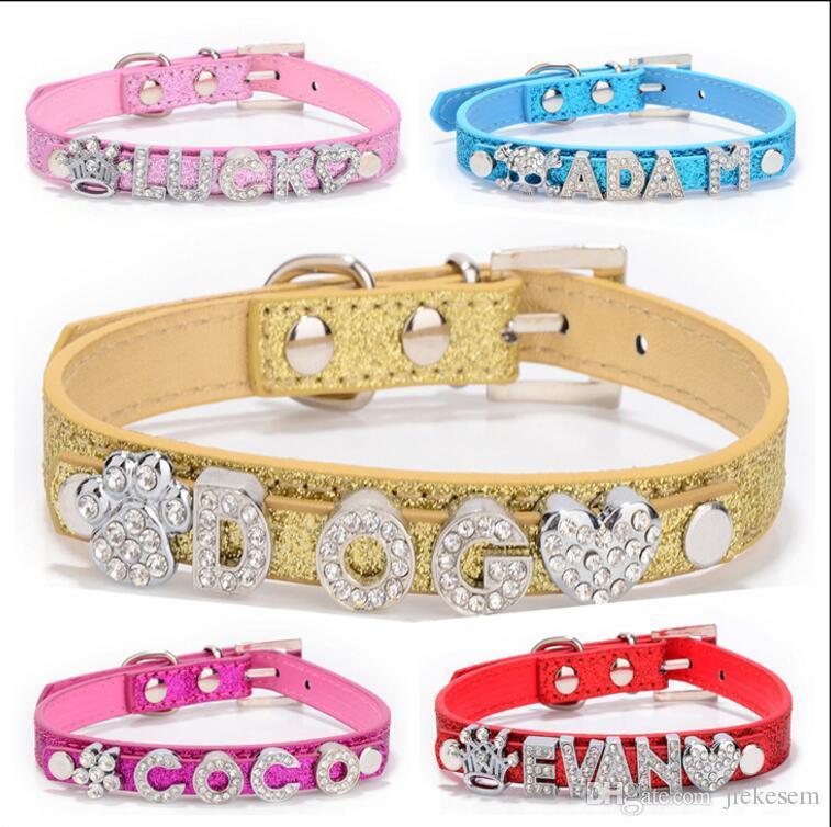 Brand new PU Leather Bling Personalized Pet Dog Collar Rhinestone DIY Customized Free Name Diamond Bucklet XS S M L