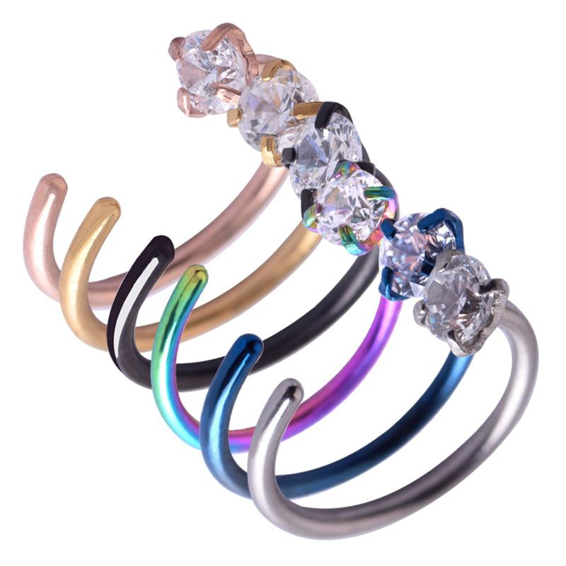 Body piercing C shape stainless steel zircon nose ring 2.5mm claw nail stud jewelry
