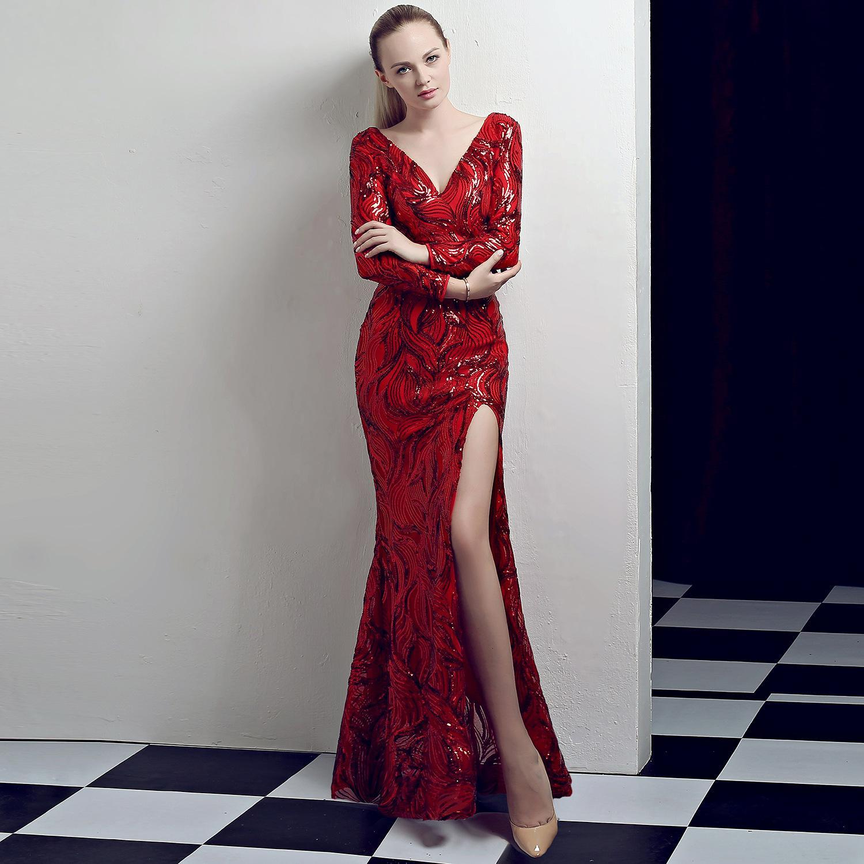 großhandel winter v ausschnitt langarm robe de soiree luxus pailletten mesh  party abendkleid frauen sexy split maxi bodenlangen meerjungfrau kleid von