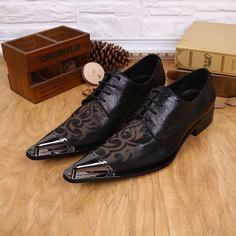Dedo del pie en punta de lentejuelas Formal Bussiness Derby Shoes Negro de cuero Tamaño 37-46 Zapatos de vestir para hombre Zapatos de tacón bajo de moda para hombre
