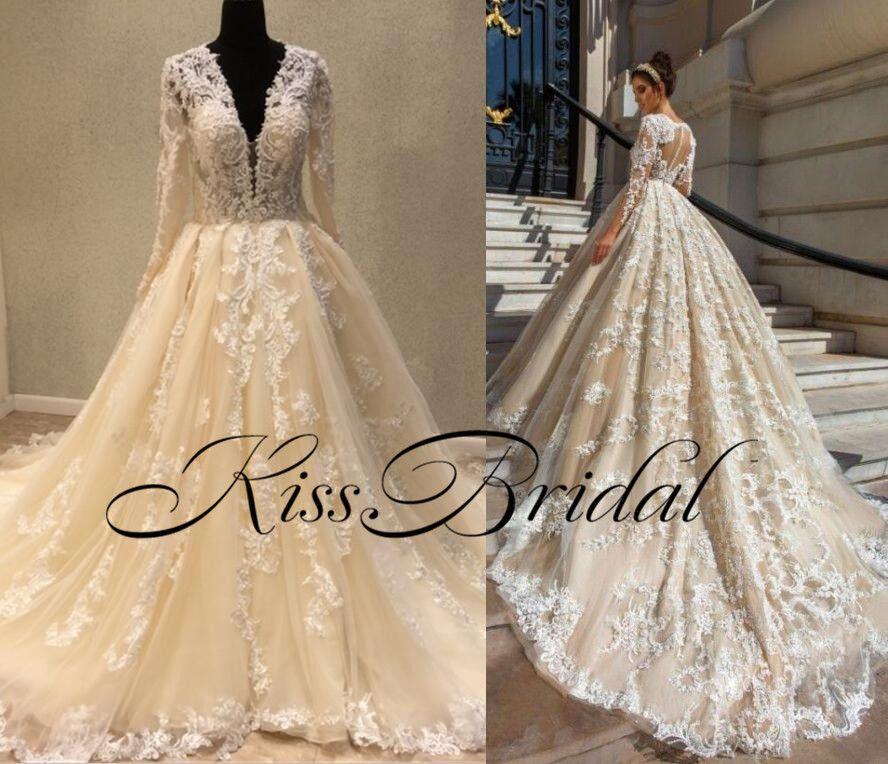 Fotografías reales Vestidos de novia de encaje Champagne Dubai Vintage Vestidos de novia Mangas largas Cuello en V profundo Barrido Vestido árabe Para la boda