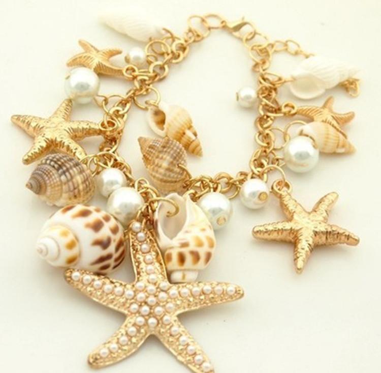 NUEVA Aleación Pulsera Mujeres Estrella de Mar Shell Pulsera Brazalete Moda Joyería de Perlas Coreanas Regalo de Niñas