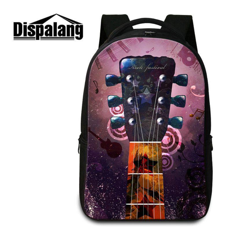 Zaino di scuola di chitarra di stampa 3D per studenti di scuola superiore Studenti Zaini di computer portatile di affari Donne Zaino da viaggio di viaggio Rugtas Pack
