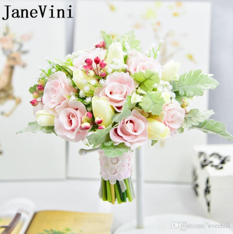 JaneVini Ручной Работы Искусственные Цветы Розы Свадебный Букет Розовый Кружевной Ручкой Свадебные Букеты Невесты Цветок Корсажи Жених 2018