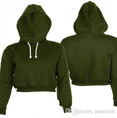Mode Frauen Sweatshirt Großhandel Hoodies Solide Ernte Hoodie Langarm Pullover Mit Kapuze Pullover Mantel Beiläufige Kurze Sweatshirt Top Hotsale
