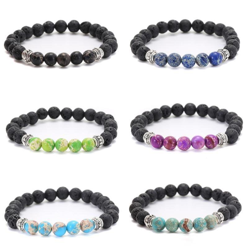 6 Styles Lava Rock Chakra Beaded Bracelet Elastic Natural Healing Stone Bracelets Essential Oil Diffuser for Men and Women