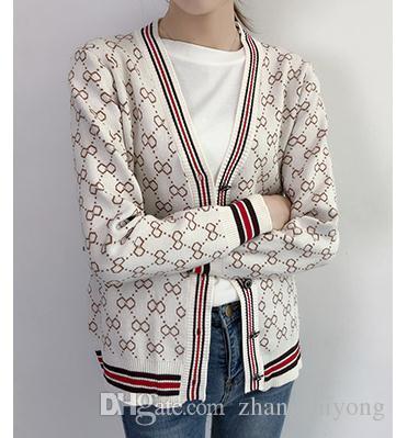 Ücretsiz göndermek Örme ceket hırka kadın 2018 sonbahar kış uzun kollu Kore gevşek ve rahat V yaka kazak gelgit
