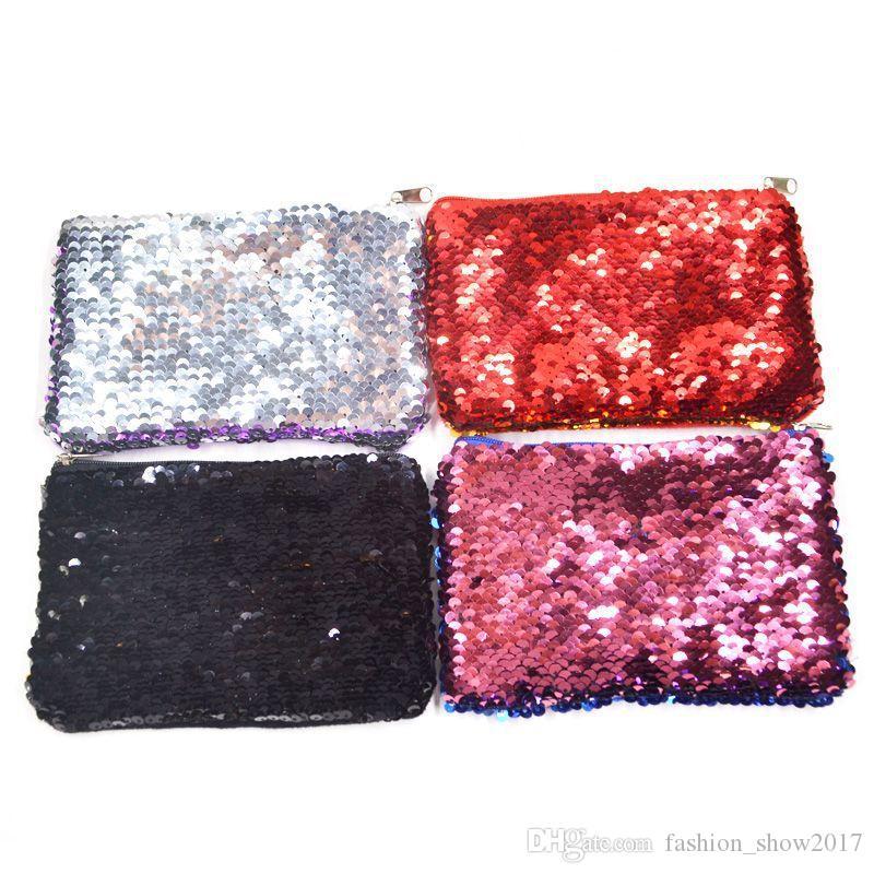 Titolare donne sacchetto di trucco borsa della moneta del Sequin Zipper borsa del cambiamento dei bambini delle donne della ragazza di Bling della moneta sacchetto della carta mini raccoglitore sacchetti cosmetici