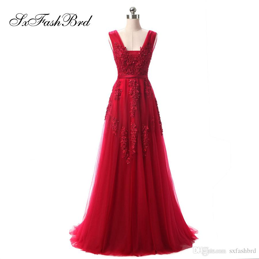 Girls Dress Elegant Sexy V Neck A Line With Appliques Red Tulle Long Party Formal Evening Dresses for Women Prom Dress Gowns
