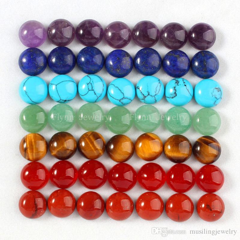 8mm Loose Beads Natural Stone Flat Beads Charms Accessories DIY Beads For Jewelry Making Amethyst Opal Crystal Opal Agate etc Stone