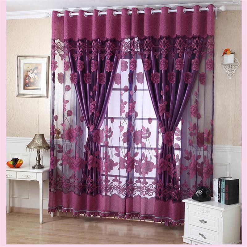 Flower Valance Blackout Vorhänge Home Decor Vorhänge Tiers für Keller Tülle Stilvolle Blume Tüll Türfenstervorhang Drapieren Panel Sheer