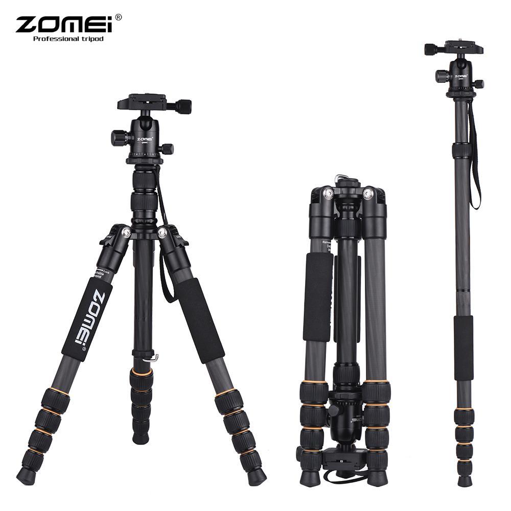 all'ingrosso Q666C portatile leggero Travel Professional Camera in fibra di carbonio Treppiede testa del treppiede per Digital SLR DSLR Camera Tripod
