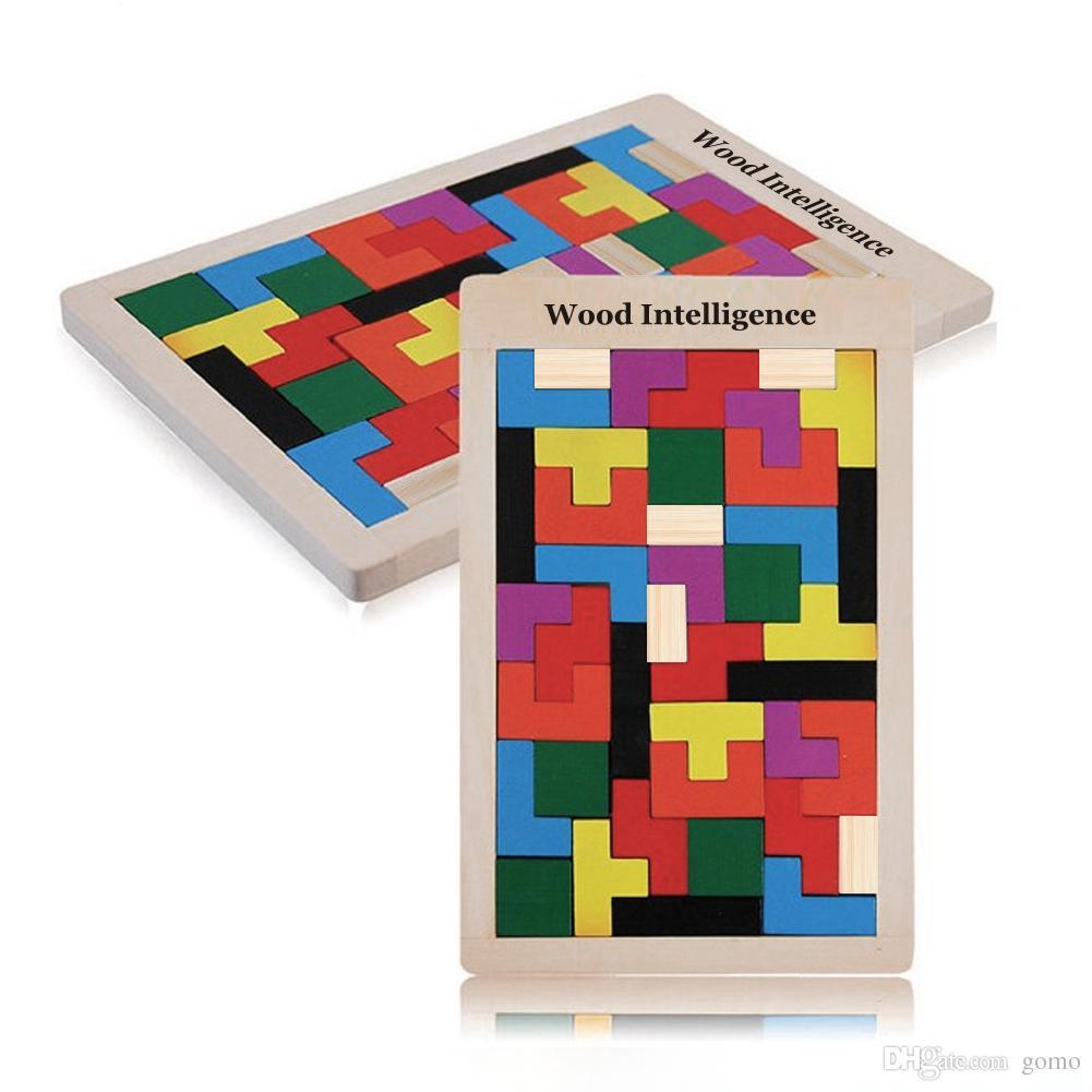Tangram en bois Brain Teaser 3D Puzzle Jouet Jouet Preschool Magination Intellectuelle Éducatifs Enfants Jouet Coloré Jisgaw Conseil