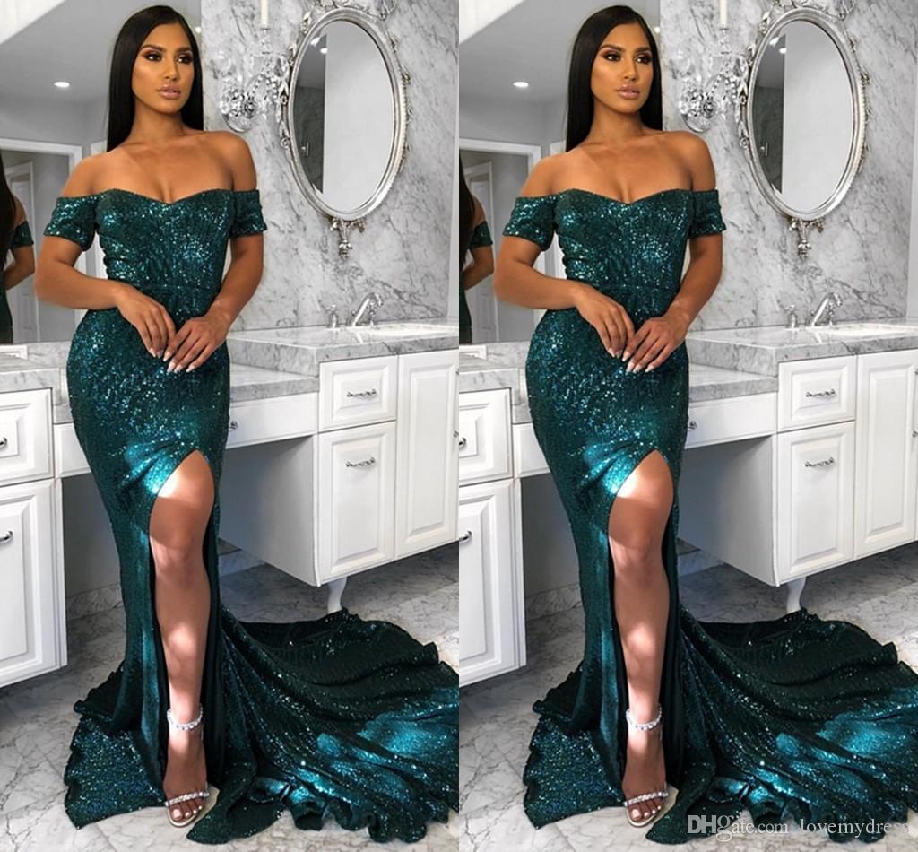 Bling Emerald Sequined Пром платья с Off плеча с коротким рукавом Sexy Side Split Русалка Вечерние платья Формальные платье партии плюс размер
