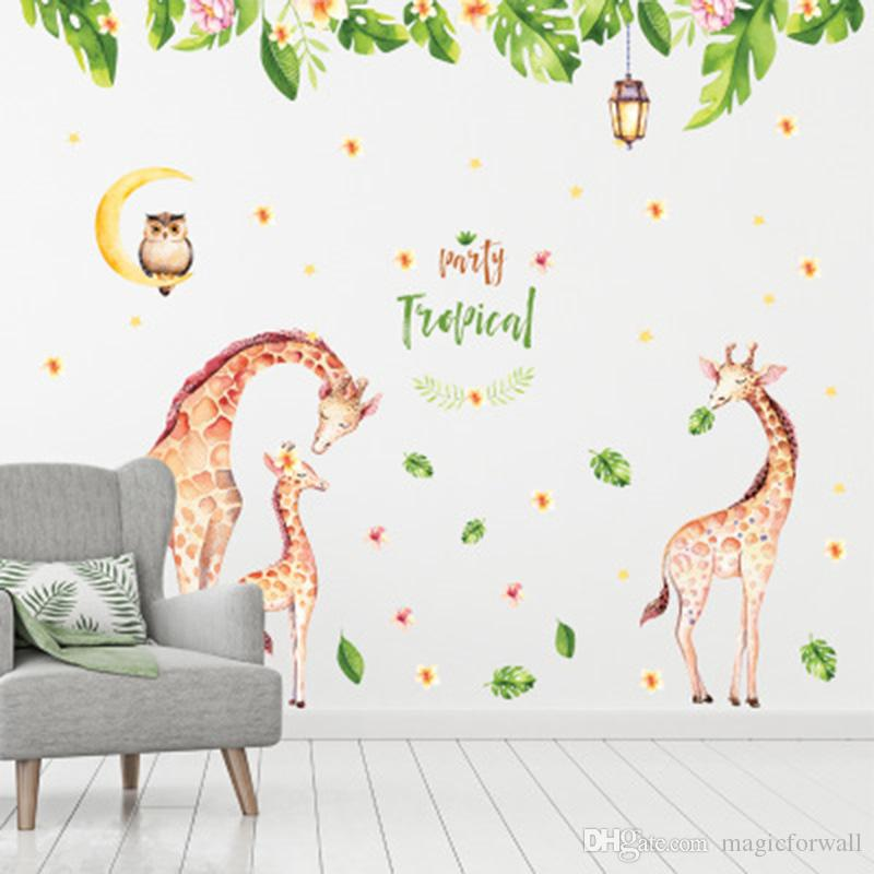 Stickers Murali Camera Da Letto.Acquista Green Leaves Flowers Giraffe Famiglia Stickers Murali