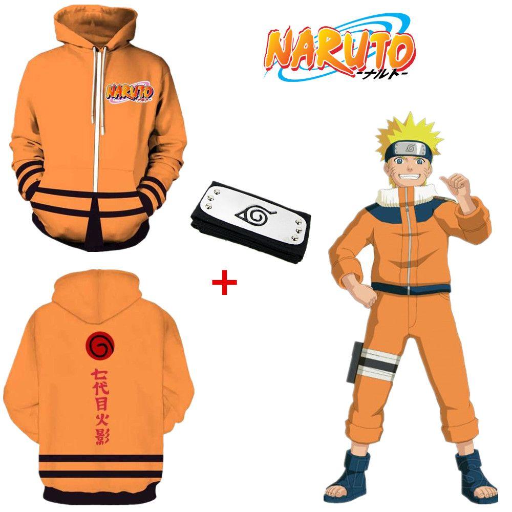 Asya Boyut Japonya Anime Uzumaki Naruto 7 Cadılar Bayramı 3D Cosplay Kostüm Uzun Kollu Unisex Spor Coat Ceket Hoodie Kafa