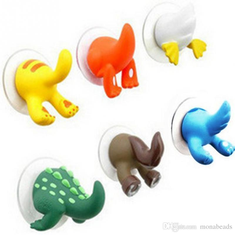 Lovely Cartoon Animal Tail Sucker Hook Towel Hanger Suction Cup Holder Hooks Clothing Key Hanger Bath Kitchen Accessories 6pc/lot