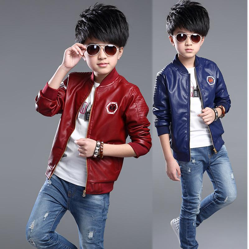 Baby Boys Girls Wind Coat Faux Leather Outerwear Autumn Short Jacket Clothes