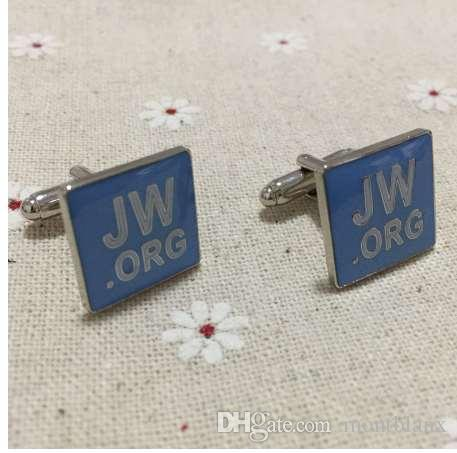 1 par recién llegado cuadrado Jw.org gemelos religiosos para hombre manga mancuerna azul esmalte