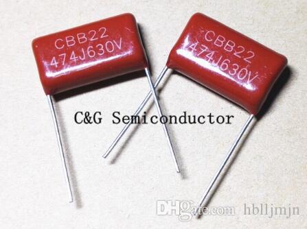 100 unids 630 V 474 0.47uF 474J CBB CBB22 P = 20 MM MPP metalizado polipropileno capacitor de película Buena calidad ROHS