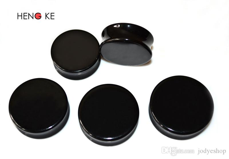 Noir acrylique grande taille Élargisseur Bouchons d'oreille Expander 22-30mm 50pcs / lot de haute qualité piercing oreille conique mode Boucle d'oreille oreille ongles pour hommes