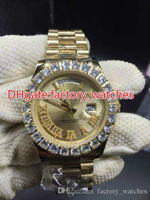 Prong set diamants lunette montre automatique mens luxe or 42mm cas cadran or marqueurs romains date Gold Big Diamond watches
