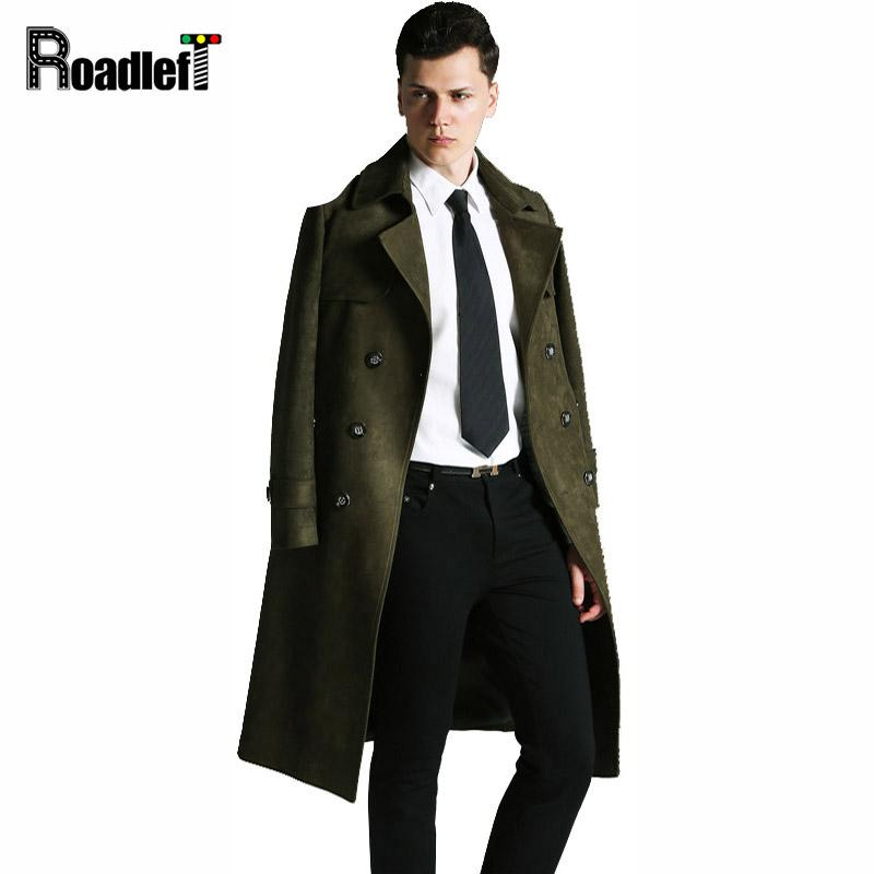 2018 sneakers cheapest newest collection 2019 Wholesale Autumn/Winter Long Suede Trench Coat Men England Style Slim  Plus Size 6XL Coats And Jackets Fashion Army Green Black Overcoat From ...