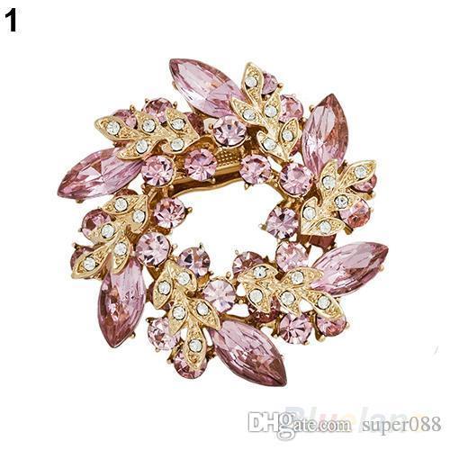 1 Unid Moda Mujer Señoras Rhinestone Cristalino Aleación Flor Bouquet Broche 7 Colores 09B6