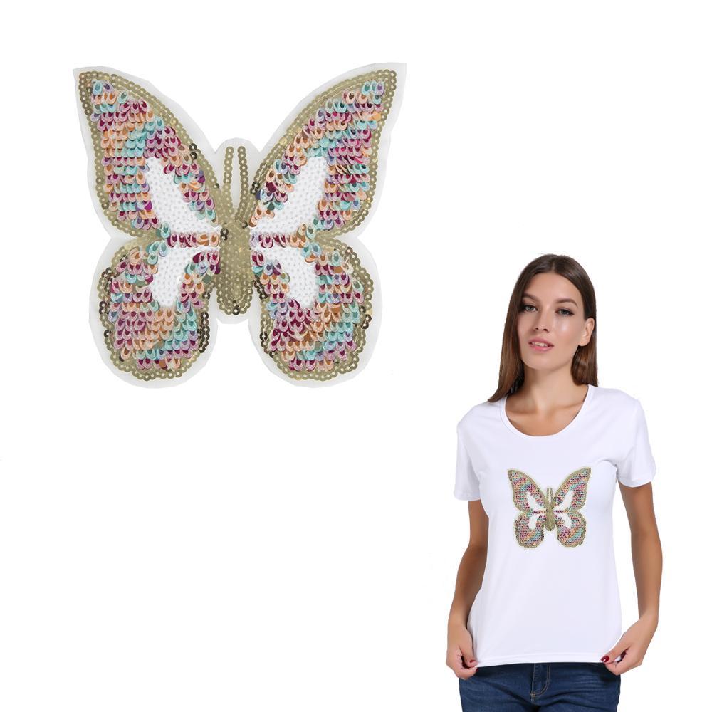 Шить-на, красочный, ткань патч, для женщин, прекрасный блесток, бабочка, патчи для детей, 3D, DIY, украшения, аппликации, значки, наклейки