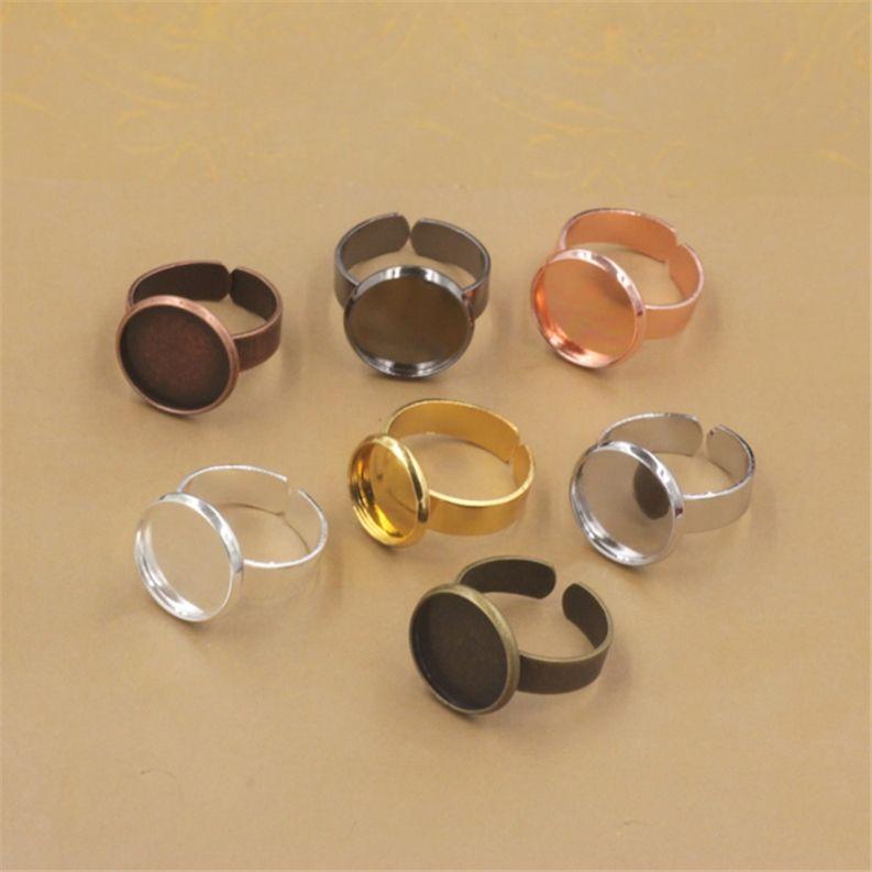 BoYuTe 20Pcs Black Gun Plated Round 10MM 12MM 14MM 16MM 18MM 20MM Cabochon Base Ring Blanks Bezel Tray Adjustable Diy Jewelry Accessories