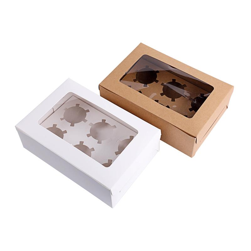 10 Pcs Windowed Cupcake Boxes White Brown Kraft Paper Box Gift Packaging For Wedding Festival Party 6 Cup Cake Holders Customized